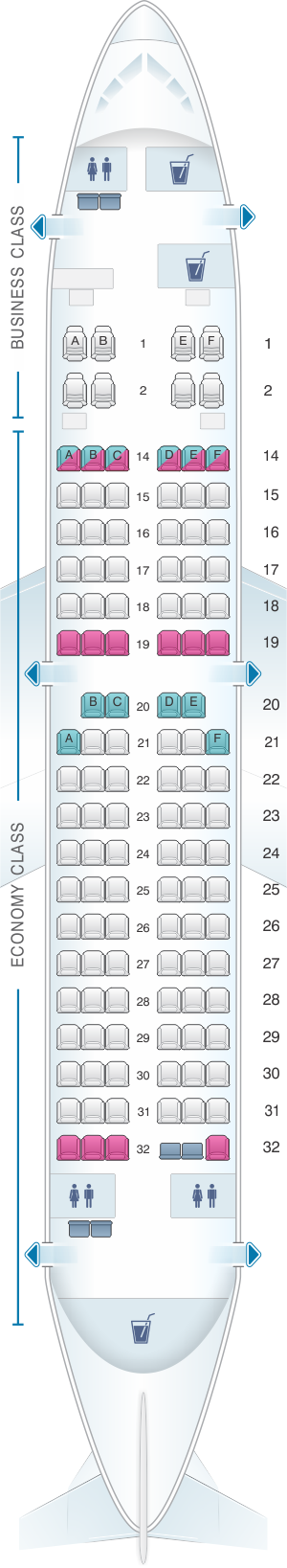 Seat map for Fiji Airways Boeing B737 700