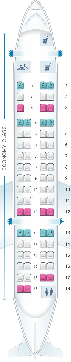 Seat map for American Airlines CRJ 700 all economy