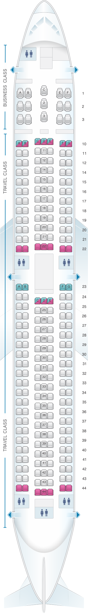 Seat map for Asiana Airlines Boeing B767 300 250PAX