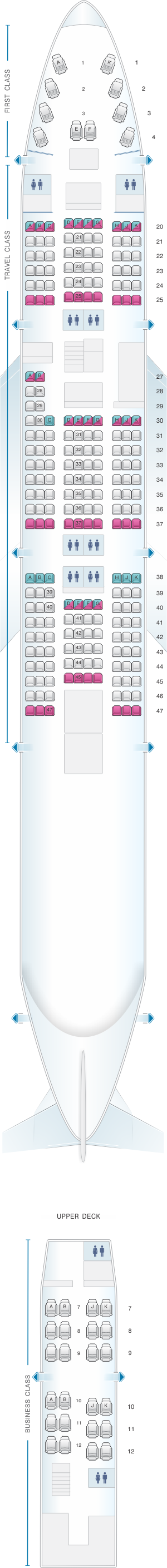 Seat map for Asiana Airlines Boeing B747 400 264PAX