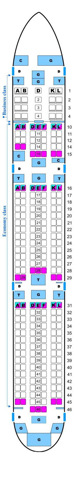 Seat map for Continental Airlines Boeing B767 400ER