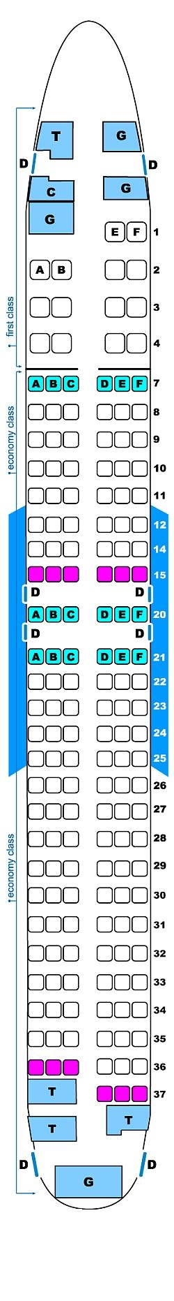Seat map for Continental Airlines Boeing B737 800 (14/141)