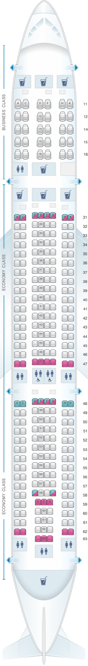 Seat map for Singapore Airlines Airbus A330 300