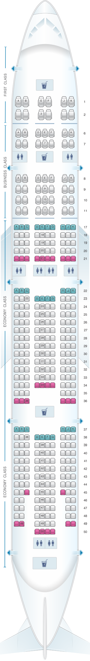 Seat map for Emirates Boeing B777 300