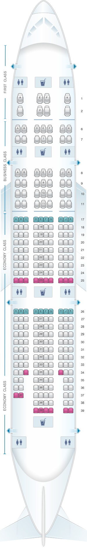 Seat map for Emirates Boeing B777 200LR