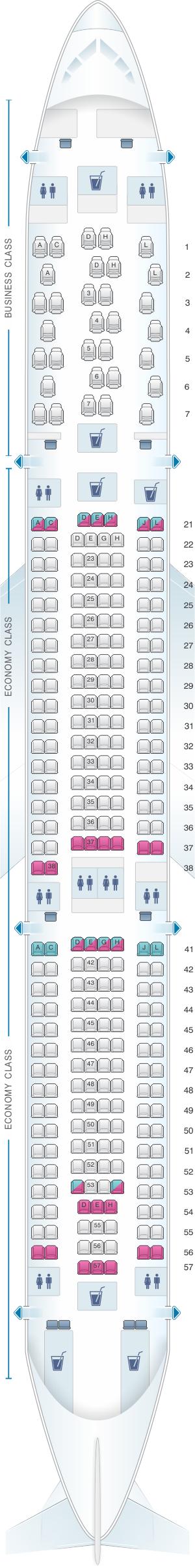 Seat map for Finnair Airbus A330 300 297PAX