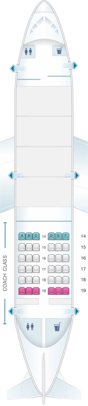 Seat map for Air Inuit Boeing B737 200C 34PAX Combi