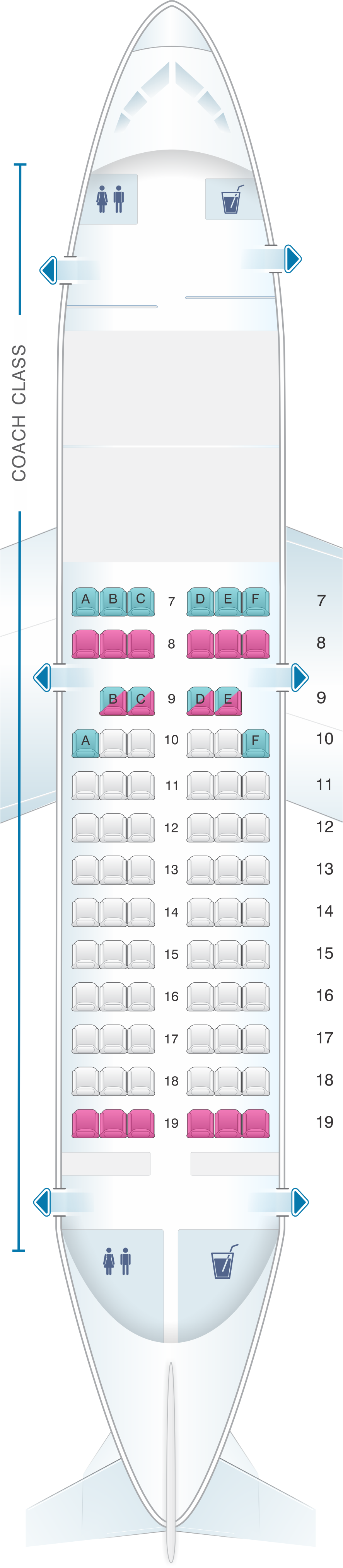 Seat map for Air Inuit Boeing B737 200C 76pax Combi