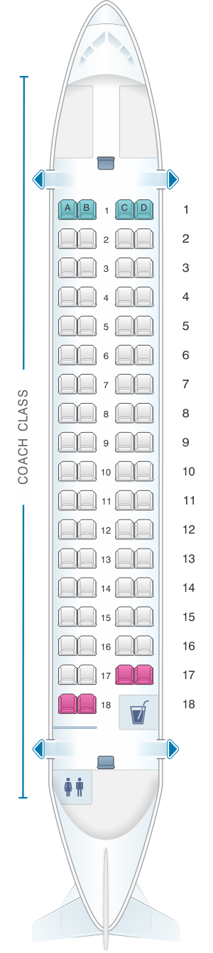 Seat map for Air Mandalay ATR 72