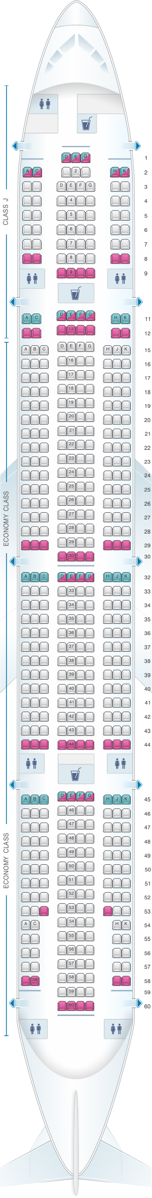 Seat map for Japan Airlines (JAL) Boeing B777 300 W24