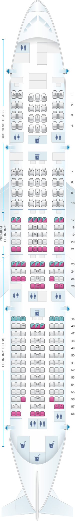 Seat map for Japan Airlines (JAL) Boeing B777 200ER W51