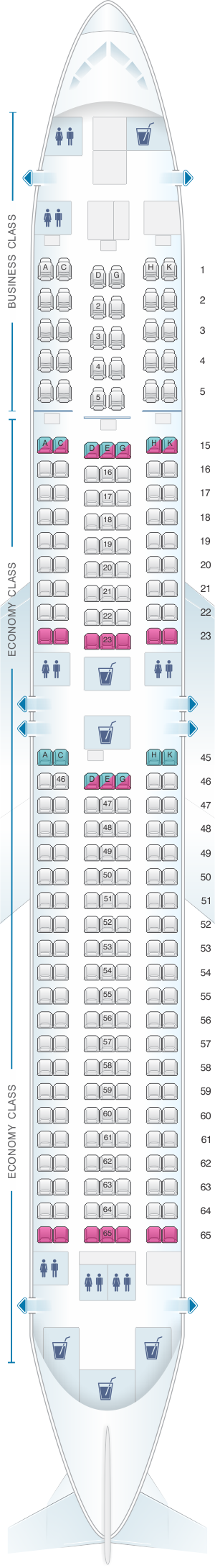 Seat map for Japan Airlines (JAL) Boeing B767 300ER A41