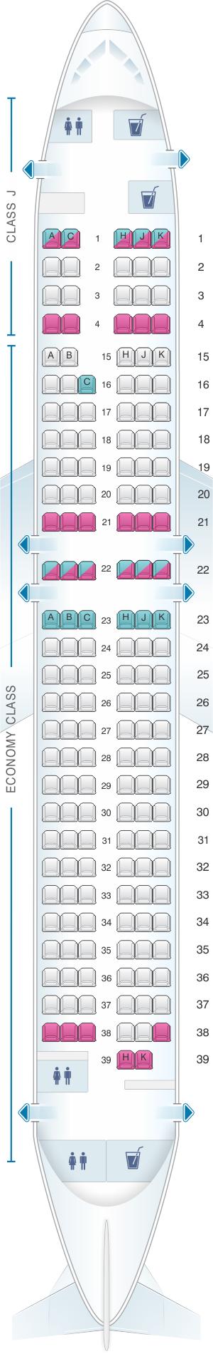 Seat map for Japan Airlines (JAL) Boeing B737 800 V30/V32