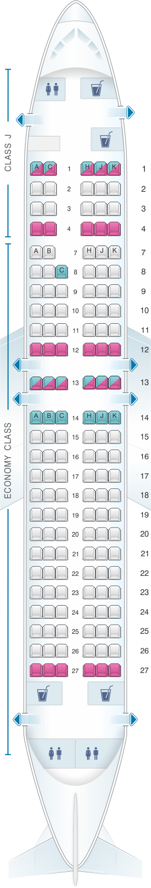 Seat map for Japan Airlines (JAL) Boeing B737 400 V51/55