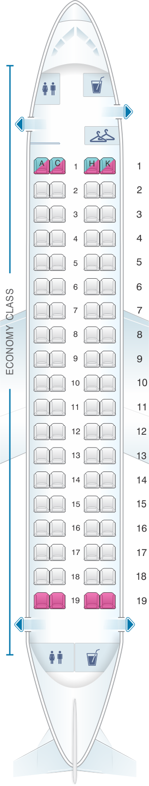 Seat map for Japan Airlines (JAL) Embraer 170 M01