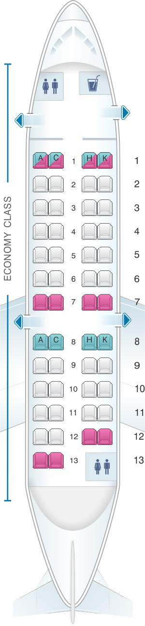 Seat map for Japan Airlines (JAL) CRJ 200 Y01