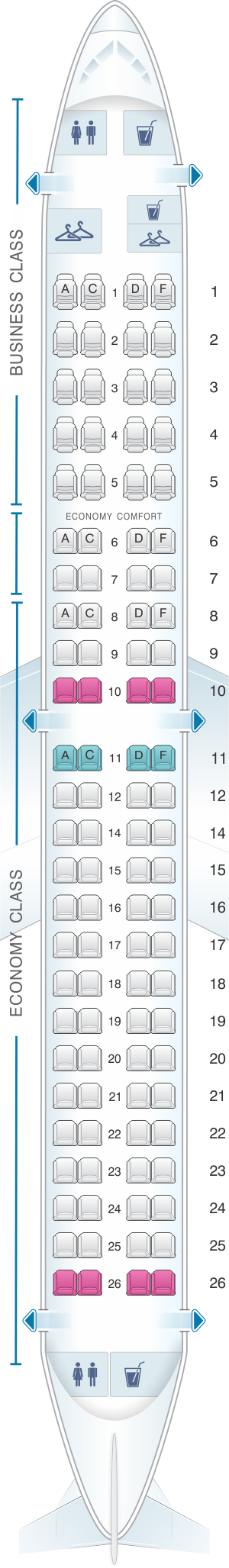 Seat map for KLM Embraer 190