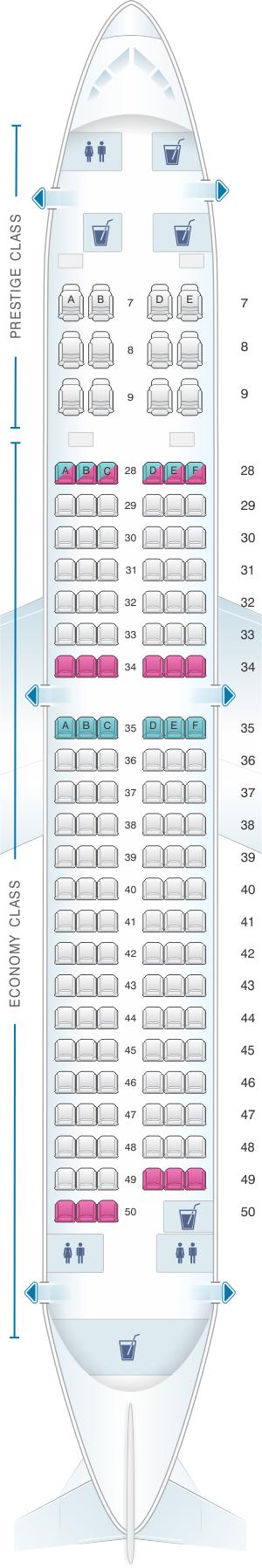 Seat map for Korean Air Boeing B737 800 147PAX