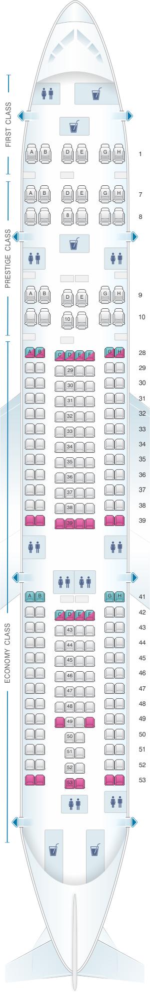 Seat Map Korean Air Airbus A330 200 218pax