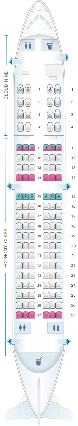 Seat map for Ethiopian Boeing B737 700