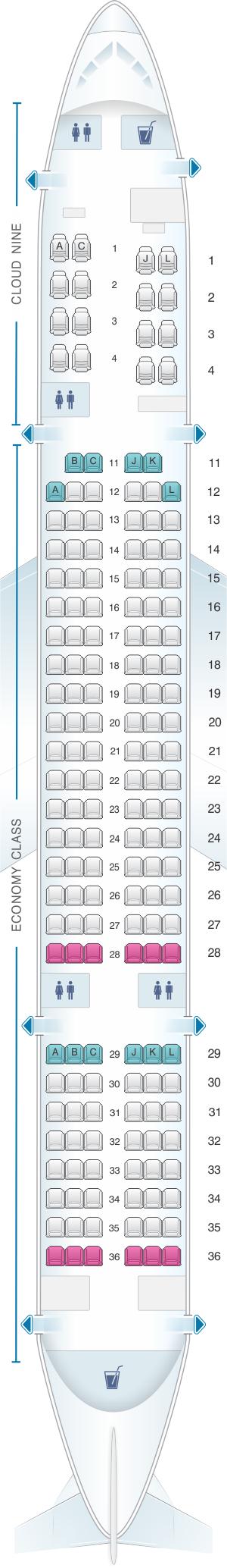 Seat map for Ethiopian Boeing B757 200 ER 170pax