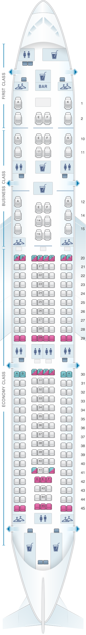 Seat map for Oman Air Airbus A330 300 V2