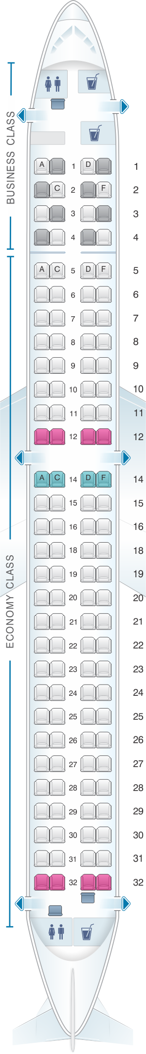 Seat map for Lufthansa Embraer E195