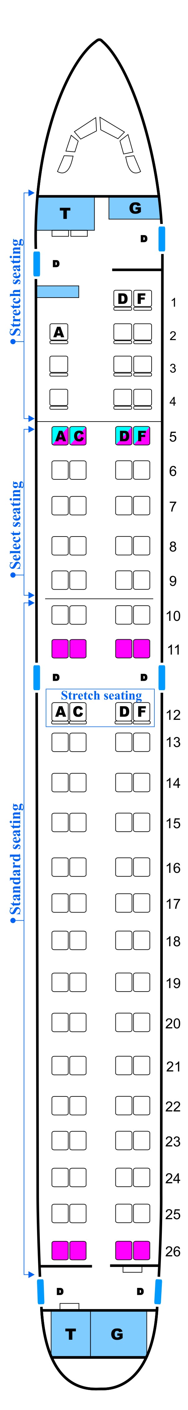 Seat map for Midwest Airlines Embraer E190 Config. B