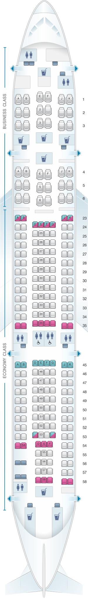 Seat map for Qantas Airways Airbus A330 200 International 235PAX