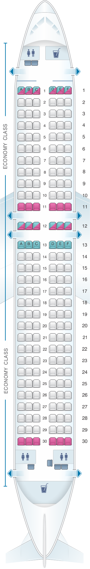 Seat map for SmartLynx Airbus A320 200 - 180 PAX