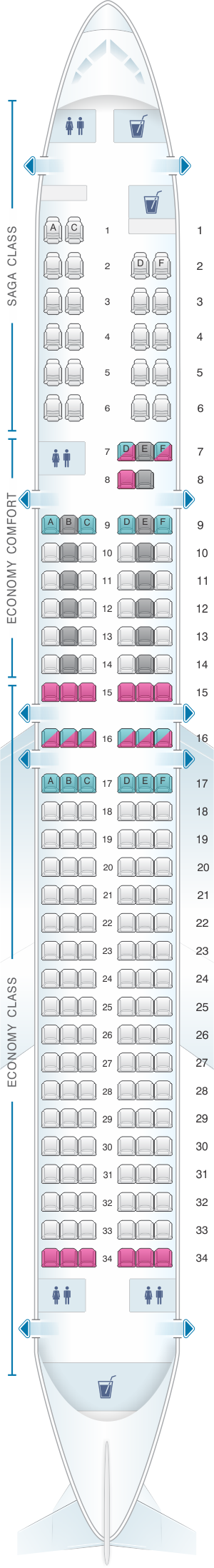 Seat map for Icelandair Boeing B757 200
