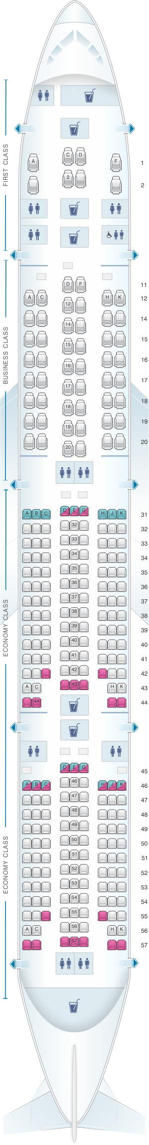 Seat map for Singapore Airlines Boeing B777 300