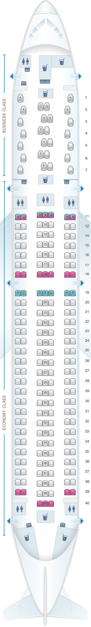 Seat map for Austrian Airlines Boeing B767 300 ER Version 26/199