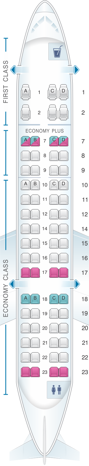 Seat map for United Airlines CRJ 700 (CR7)