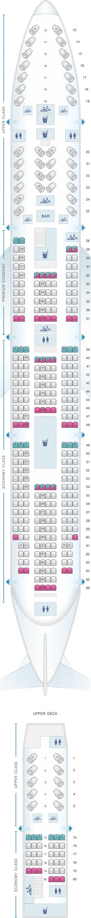 Seat map for Virgin Atlantic Boeing B747 400 LH