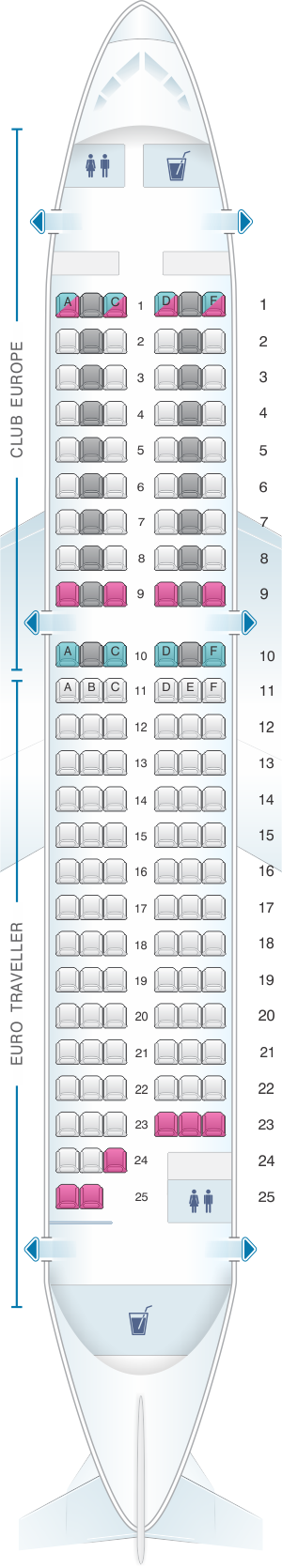 Seat map for British Airways Airbus A319 European Layout