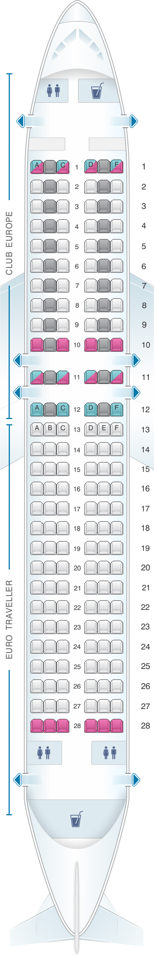 Seat map for British Airways Airbus A320 European Layout