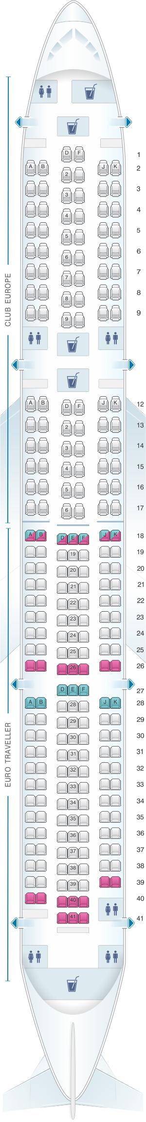 Seat map for British Airways Boeing B767 European Layout