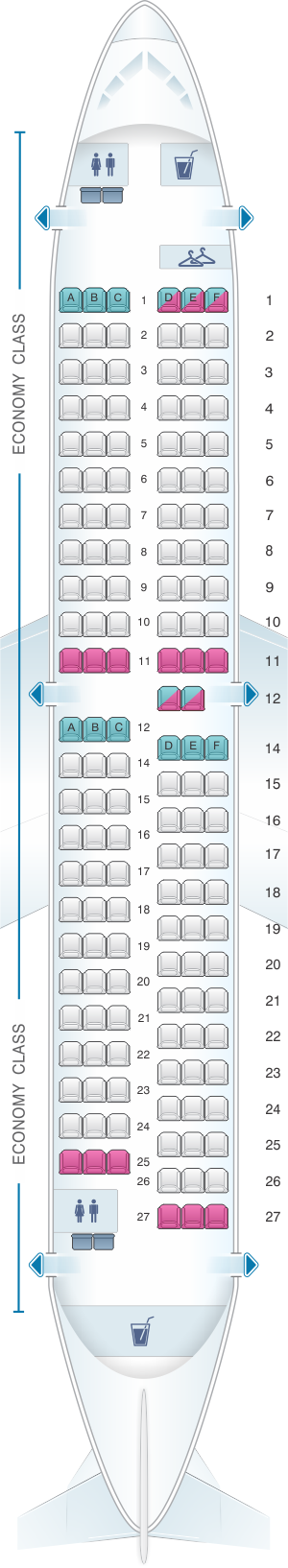 Seat map for AnadoluJet Boeing B737 700