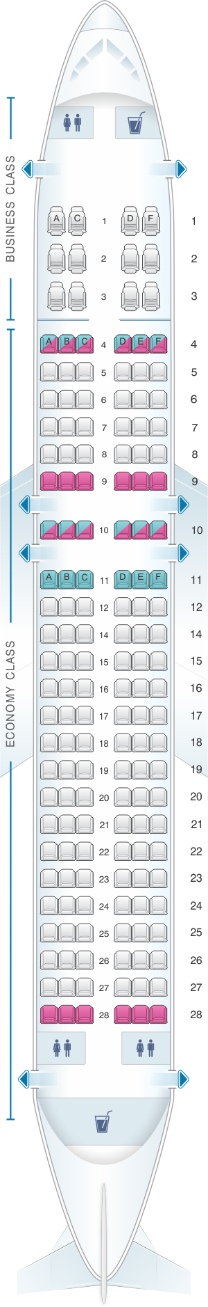 Seat map for Ural Airlines Airbus A320