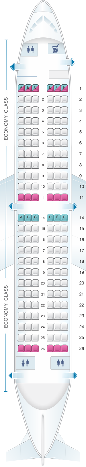 Seat map for Corendon Airlines Boeing B737 300