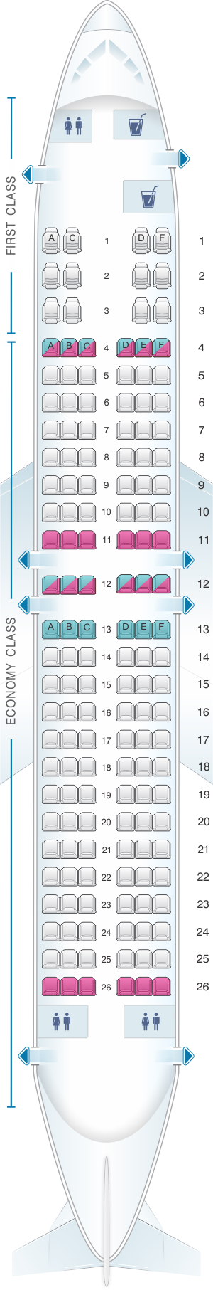 Seat map for Xtra Airways Boeing B737 400 150pax