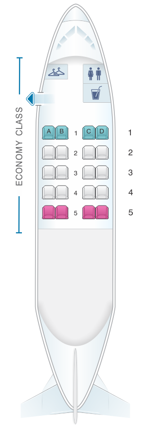 Seat map for Dash 8 100 (20PAX)