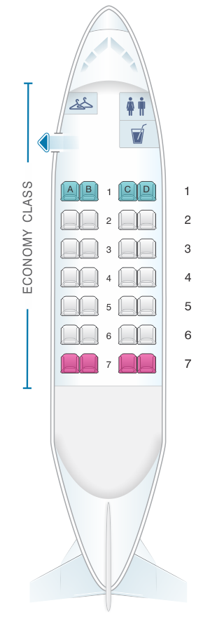 Seat map for Dash 8 100 (28PAX)