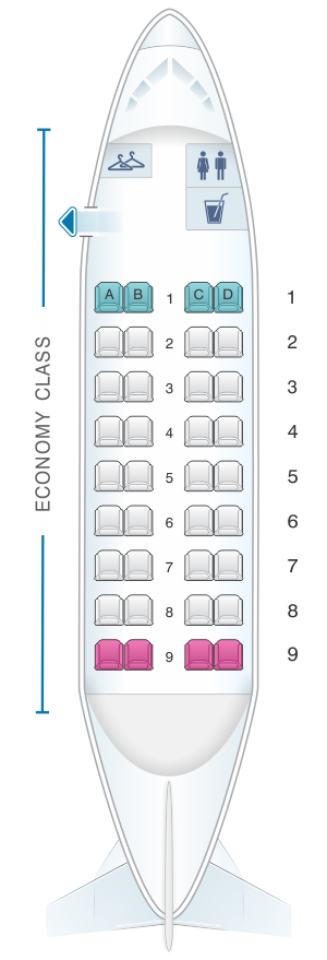 Seat map for Dash 8 100 (36PAX)