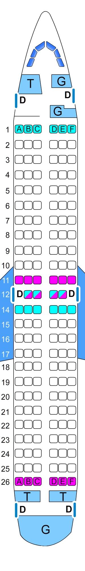 Seat map for SkyExpress Boeing B737 300