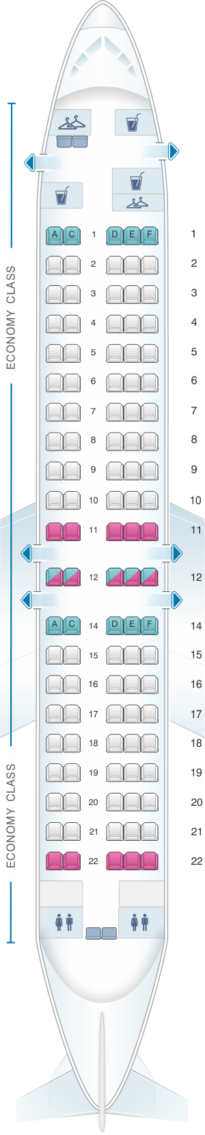 Seat map for Austrian Airlines Fokker 100