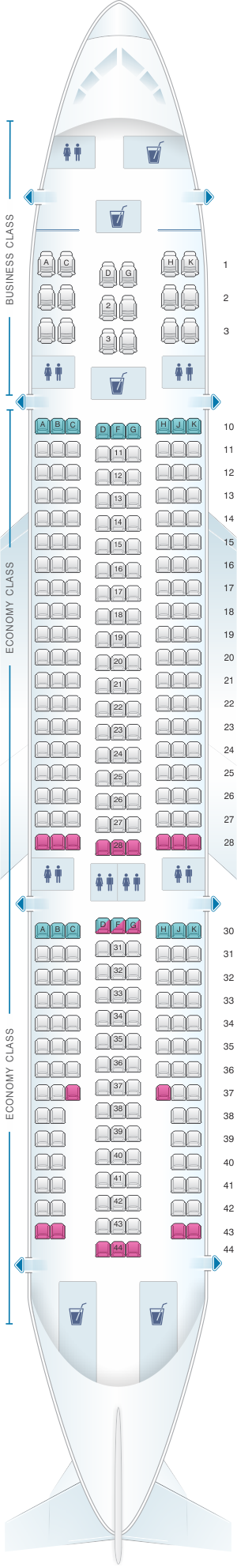 Seat map for Hi Fly Airbus A330 200 306pax