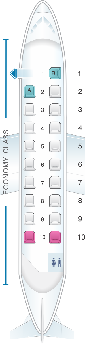 Seat map for Twin Jet Beechcraft 1900D