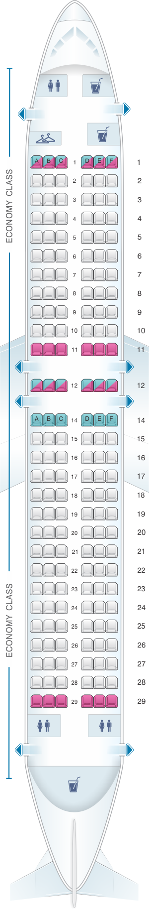 Seat map for Blue Panorama Boeing B737 400